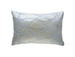 Lili Alessandra Whimsical Small Rectangle Pillow - Ivory Silk / Clear Glass Crystals