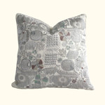 Dransfield and Ross House Corcovado Embroidered Square Decorative Pillow - Gunmetal