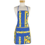 Provence Coated Cotton Apron - Lemon Blue
