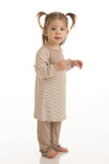BambooDreams Maisy Ruffle Dress Set - Sand Micro Stripe