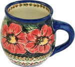 Boleslawiec Polish Pottery Bubble Mug - Red Garden