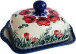 Boleslawiec Polish Pottery Butter Dish - Poppy Field