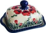 Boleslawiec Polish Pottery Butter Dish - Poppy Field