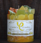 "Citrus Delight Scented Pillar Gem Top Candle - 4""x5"""