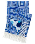 Pine Cone Hill Geo Floral Linen Blue Throw