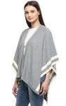 Darzzi Stripe Cape - Lt Grey Melange / Natural