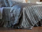 Lili Alessandra Moderne Quilted Personal Blanket - Silver Velvet with Silver Print