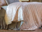 Lili Alessandra Moderne Quilted Personal Blanket - Blush Velvet with Silver Print