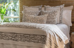 Lili Alessandra Christian Throw - White Linen/Platinum Velvet Applique