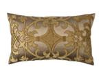 Lili Alessandra Olivia Large Rectangle Pillow - Gold Silk / Bronze Velvet / Gold Beads