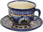 Boleslawiec Polish Pottery Cup and Saucer - Blue Garden