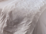 Lili Alessandra Mozart Throw - White Linen with White Linen Applique