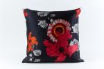 Ann Gish Daisy Silk Pillow - Black