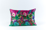 Ann Gish Flower Stripe Silk Pillow - Green