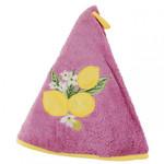 Provence Lemon Round Terrycloth Towel - Fuchsia