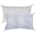Pom Pom and Home Dali Hand Blocked Pillow - Indigo