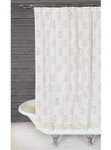 Pom Pom at Home Bahaar Hand Blocked Shower Curtain - White/Gold