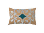 Lili Alessandra Angie Small Rectangle Pillow - Mustard Linen / Platinum Velvet