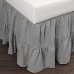 Amity Home Caprice Linen Bed Skirt - Grey Chambray