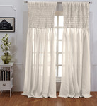 Amity Home Ruched Linen Curtain - Ivory