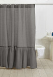 Amity Home Caprice Linen Shower Curtain - Neutral Grey