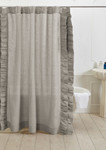 Amity Home Basillo Linen Shower Curtain - Platinum Grey