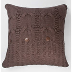Amity Home Micah Cable Knit Pillow - Charcoal Brown