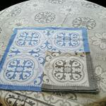 Jacquard Weave Cotton Napkin - Mosaique Blue