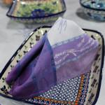 Jacquard Weave Cotton Napkin - Pouquet Ecru/Purple