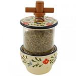 Provence Ceramic Herb Grinder - Traditional Floral