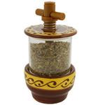 Provence Ceramic Herb Grinder - Arabesque Yellow/Brown