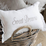 "Crown Linen ""Sweet Dreams"" Embroidered Decorative Pillow - White/Ruffle"