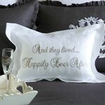 "Crown Linen ""Lived Happily Ever After"" Embroidered Decorative Pillow - White/Frame"