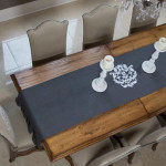 "Crown Linen 114"" Linen Table Runner - Gray"