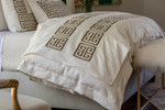 Lili Alessandra Guy Throw - Ivory Basketweave / Gold Metallic