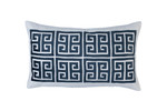 Lili Alessandra Guy Large Rectangle Pillow - Ivory Basketweave / Midnight Velvet