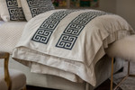 Lili Alessandra Guy Throw - Ivory Basketweave / Midnight Velvet
