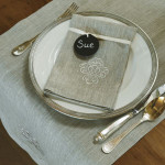 """Crown Linen Napkin Set with """"Swirl"""" Embroidery - Flax Linen"""