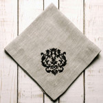 """Crown Linen Napkin Set with Black """"Damask"""" Embroidery - Flax Linen"""