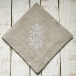 """Crown Linen Napkin Set with """"Royal"""" Embroidery - Flax Linen"""