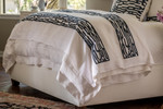 Lili Alessandra Christian Throw - White Linen / Midnight Velvet Applique