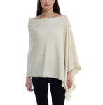 Darzzi Merino Wool Bubble Knit Poncho -  Natural