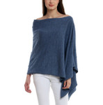 Darzzi Merino Wool Bubble Knit Poncho -  Blue Combo