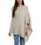 Darzzi Honeycomb Knit Poncho with Buttons - Light Grey
