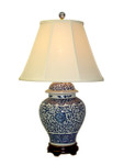 Blue/White Floral Vase Lamp