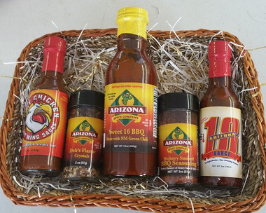 Angry Chicken Hot Wing Sauce,  Deb's Flavor Crystals, Hickory BBQ Rub, Sweet 16 and the Ghosst Pepper Arizona 18 Sauce.