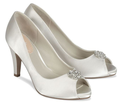Lustre Dyeable Satin Open Toe Shoes