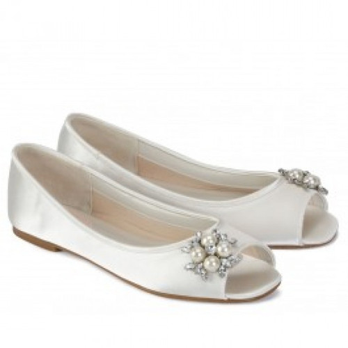 Flower Dyeable Satin Open Toe Flat Shoes