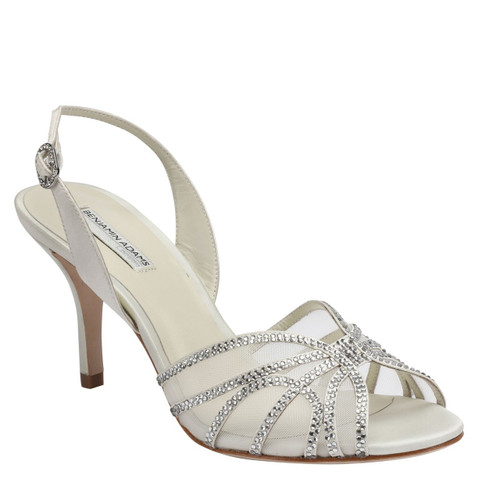 Natalie Slingback Wedding Shoes with Crystals