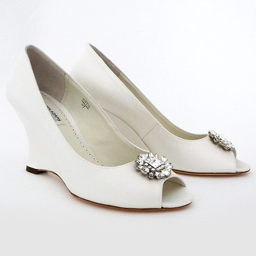 Helen Wedge Wedding Shoes with Ornament